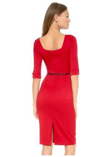 BLACK HALO Jackie O Belted Sheath Hollywood Celebrity 3//4 Sleeve Black Dress