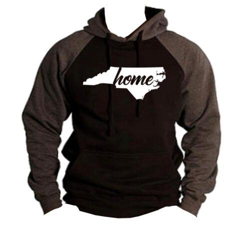 Home North Carolina Map Black Raglan Hoodie sweater State Pride Homeland NC V266