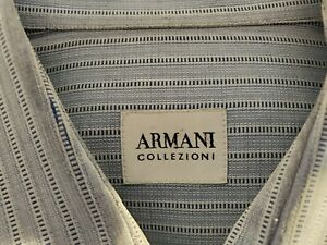ARMANI-COLLEZIONI-MENS-16-L-S-100-COTTON-BLUE-STRIPED-DRESS-SHIRT