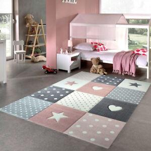 Details about Girls Bedroom Rug Pink Grey Stars Hearts Check Pattern Soft  Children Carpet Mats
