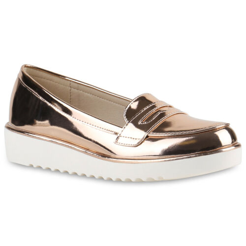 Damen Slipper Loafers Lack Metallic Schuhe Flats Profilsohle 814435 Trendy