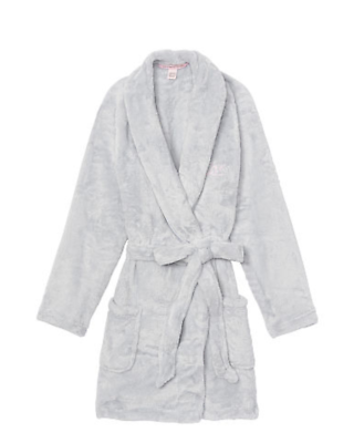 Creative Nwt Victoria's Secret Vs Cozy Hooded Flint Grey Short Allover Faux Fur Robe M/l Intimates & Sleep Clothing, Shoes & Accessories