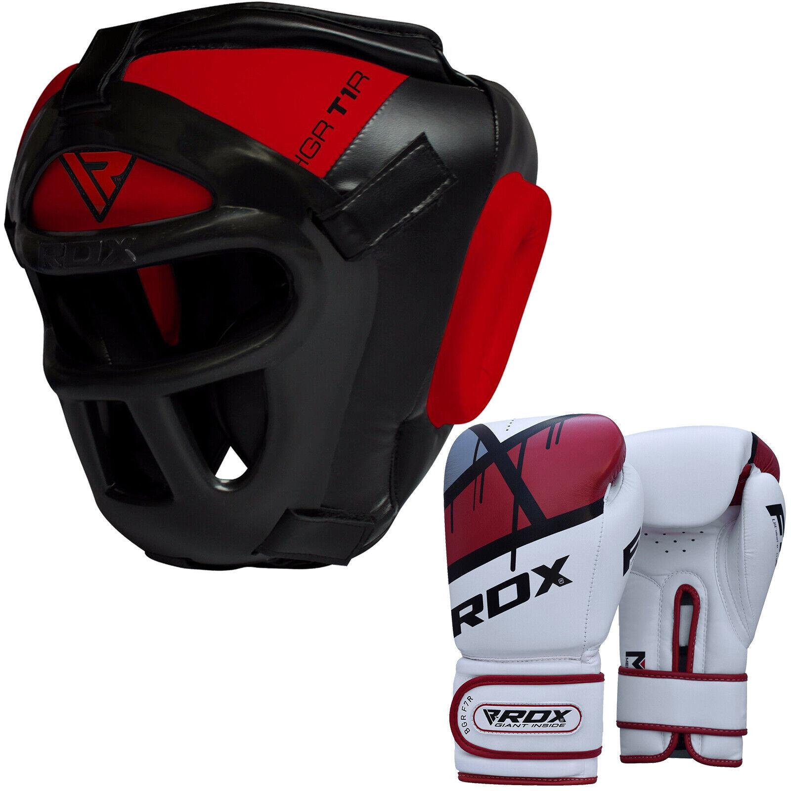 RDX Testa Guardia Boxe Set con la Boxe Guanto Boxe MMA Formazione Prossoettore