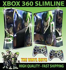 XBOX 360 SLIM JOKER UND HARLEY VERRÜCKT LOVE GOTHAM SKIN & 2 X POLSTER FOLIEN