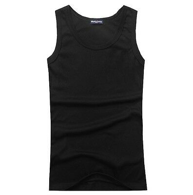 Top Quality 100% Premium Cotton Mens A-Shirt Wife Beater Ribbed Tank Top Muscle