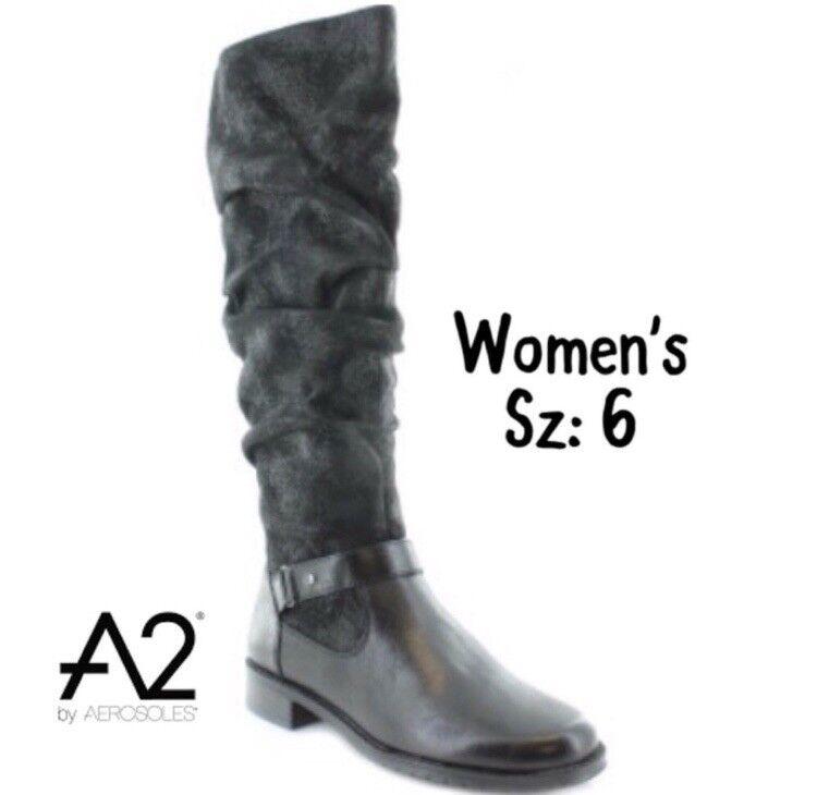 New Womens A2 Black Boots Sz 6