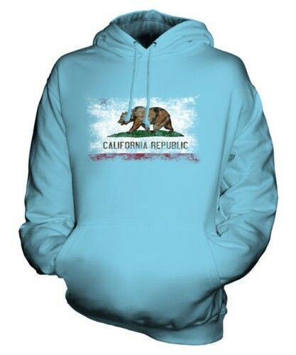 CALIFORNIA STATE DISTRESSED FLAG UNISEX HOODIE TOP CALIFORNIAN JERSEY