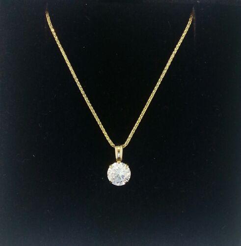 1 Ct Round Cut 14K or jaune solitaire collier pendentif carré blé Chaîne