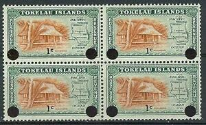 Tokelau Islands 1967 Sc# 9 overpr 1c on 1p Nikonono dweling Map block 4 MNH