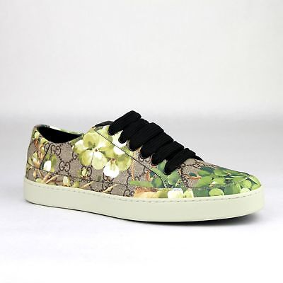 Gucci Supreme GG Canvas Bloom Print Green Flower Sneaker Shoes 407343 8960