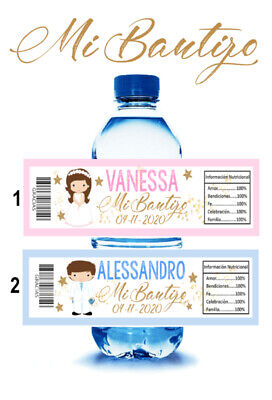 FULL WRAP AROUND 15 Mi Bautizo Boy//Girl Water Bottle Labels Wrappers