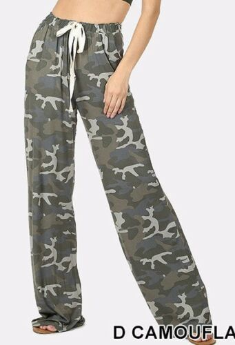 WOMEN/'S CAMO PRINT LOOSE FIT BOTTOM PANTS TRENDY AND COMFY NEW  EVERYDAY WER