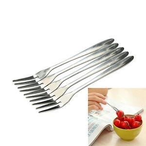 5-10X-Stainless-Steel-Globularness-Fork-Dessert-Fruit-Forks-Small-Tableware-SR
