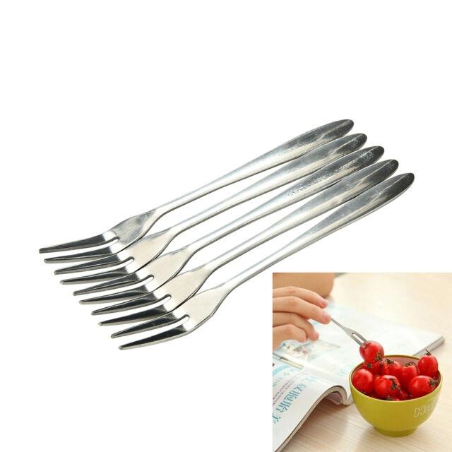 5/10X Stainless Steel Globularness Fork Dessert Fruit Forks Small Tableware well