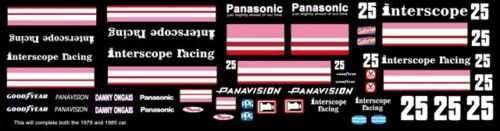 #25 DANNY ONGAIS INTERSCOPE RACING 1979 /& 1985 1//43rd Scale Slot Car Decals
