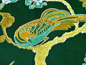 SALE-3-YDS-60-039-s-Mid-Century-Japanese-Birds-Barkcloth-Era-Vintage-Fabric-Yardage