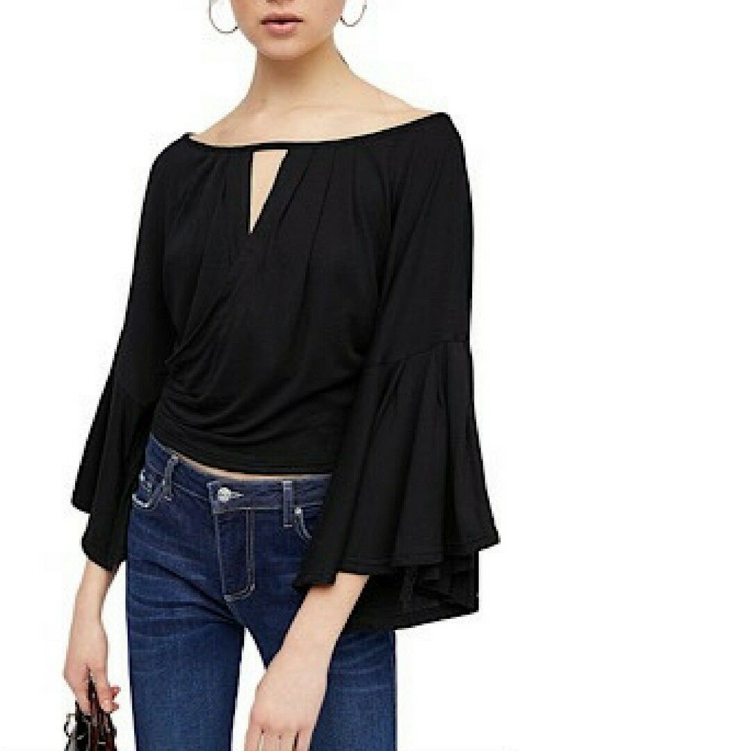 NWT FREE PEOPLE Last Time Draped Bell-Sleeve Top schwarz Small S Retail