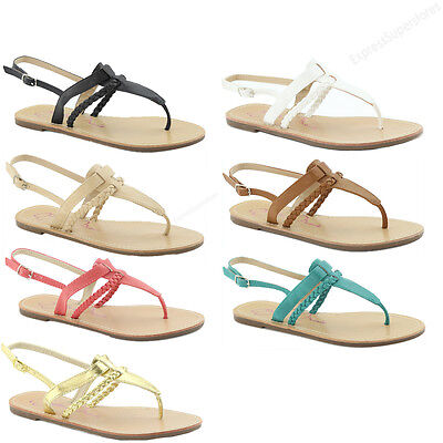 New Womens Sandals Flat Gladiator Braided Strap Flip Flops Thong Sandal Slipper