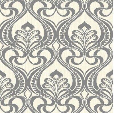 New Grandeco Nouveau Charcoal Metallic Glitter Damask - Wallpaper 113001