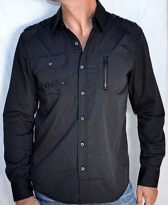 Men/'s Long Sleeve Dress Shirt Affliction Black Premium TOTAL RECALL WV150