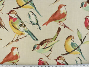Drapery Upholstery Fabric Bird Branch Watercolor Screen Print On