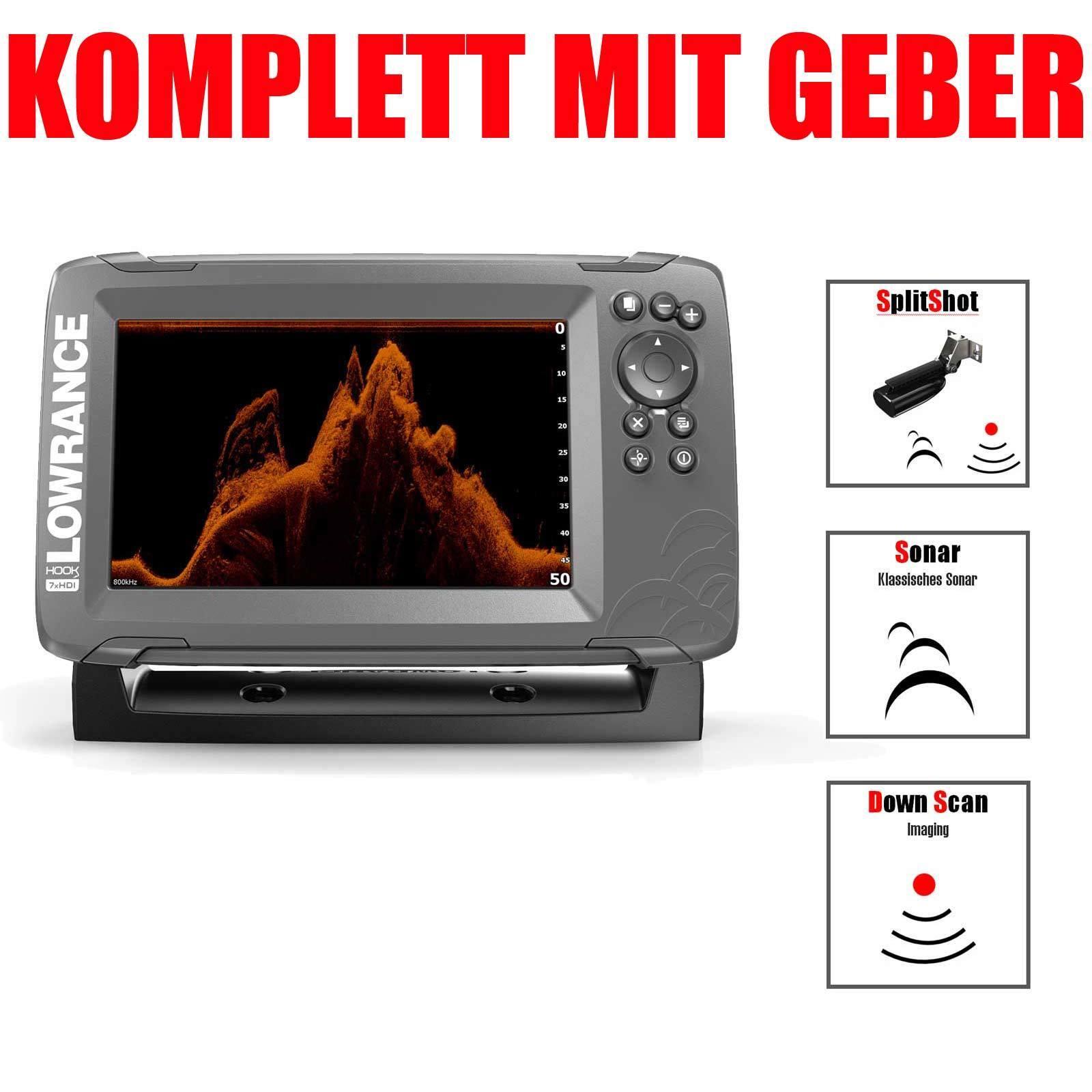 Lowrance GPS Echolot mit Geber Fischfinder - Hook2 - 7x SplitShot HDI CHIRP GPS