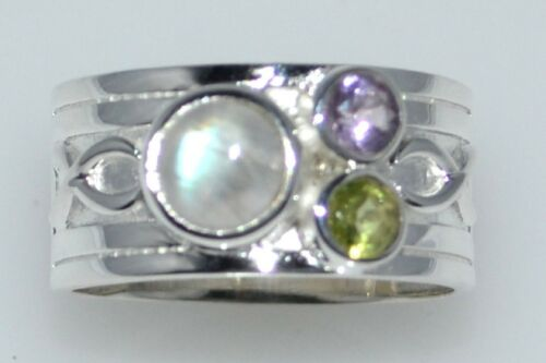 L to 12½, Sterling 925 Silver Ring 3 Multi Gem Birthstone Rings; All Sizes 5½