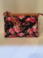 9d98106a9e Cavalcanti Collection Printed Leather Wristlet Black Rose Black Pink Birds  Italy