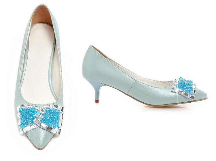 Décollte Schuhe Pumps Frau Schmuckstück Absatz 5 cm Schmuckstück Blau 8693