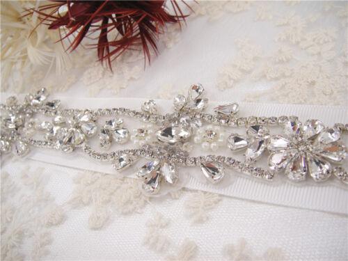Pearl Diamante Bridal DIY Chain Rhinestone Wedding Dress Applique Beaded Motif
