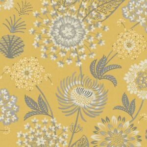 Arthouse Vintage Bloom Floral Wallpaper Retro Flower Mustard Yellow