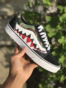 28fd2bbcc2c6c Details about Custom Bape Shark Teeth Vans Old Skools