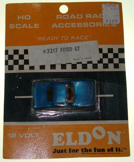 ELDON HO SCALE READY TO RACE SLOT CAR NMOC 12 VOLT blueE FORD GT