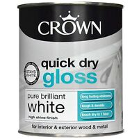 Crown Quick Dry Gloss Pure Brilliant White - Wood & Metal - Paint  750ml