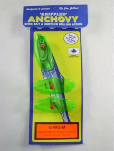 Krippled Plastic Anchovy Heads Baitfish U-Rig-M Chartreuse Package of 3