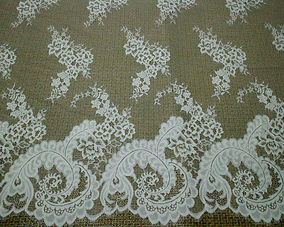 LOT 3Meters French Chantilly Eyelash Double Edge Lace Fabric Wedding Dress N