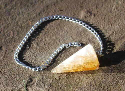 Crystal of Confidence Citrine Natural Dowsing Pendulum Gift Wrapped Reiki