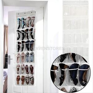 24Pocket Shoe Space Hanging Organizer Storage Wall Door Bag Closet Holder New