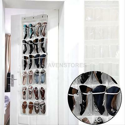 24 Pocket Shoe Space Door Hanging Organizer Storage Rack Wall Bag Closet Holder