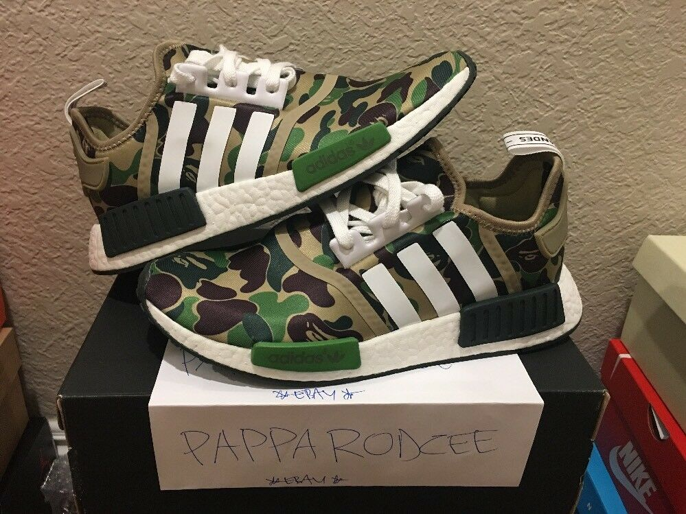 DS ADIDAS NMD R1 BAPE size 9 GREEN CAMO camouflage