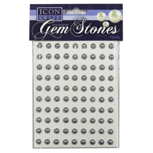 Icon Craft Pearl Gem Stones 8mm Pack of 90-7 Colours Self Adhesive