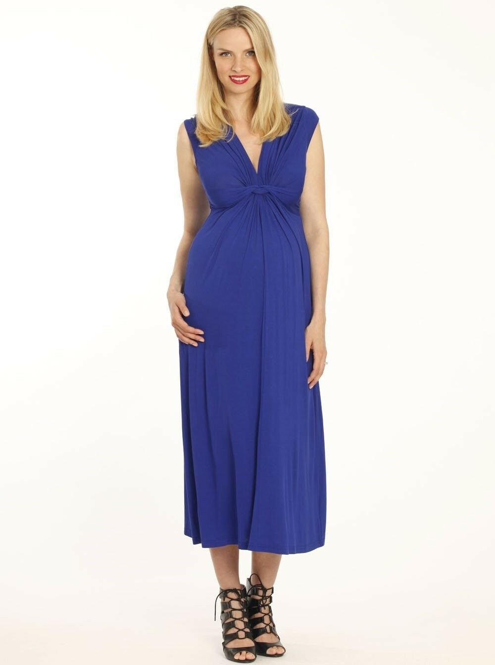 Irene Maternity Front Knot Maxi Dress - bluee