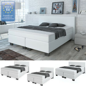 design boxspringbett bett hotelbett ehebett doppelbett weiss 140 160 180 cm ebay. Black Bedroom Furniture Sets. Home Design Ideas