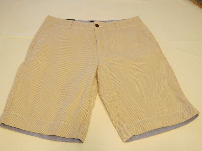 Uomo Tommy Hilfiger 30 Classico Fit Pantaloncini 7895038 262 Marrone Bianco Strp