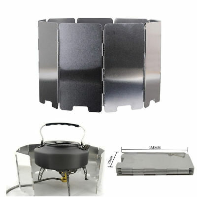 10 Plates Foldable Camping Cooking Gas Stove Wind Shield Screen Outdoor Picnic