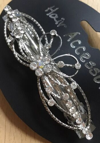 A Beautiful Silver Metal And Diamanté Barrette Hair Clip