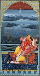 The-Lord-Ganesh-Ganesha-Painting-Handmade-Indian-Miniature-Hindu-Religious-Art