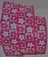 Wired Ribbon1.5hot Pink Sparkle Retro Flowerwhitecheckerboardwreathbow
