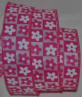 Wired Ribbon1.5hot Pink Sparkle Retro Flowerwhitecheckerboardwreathbow