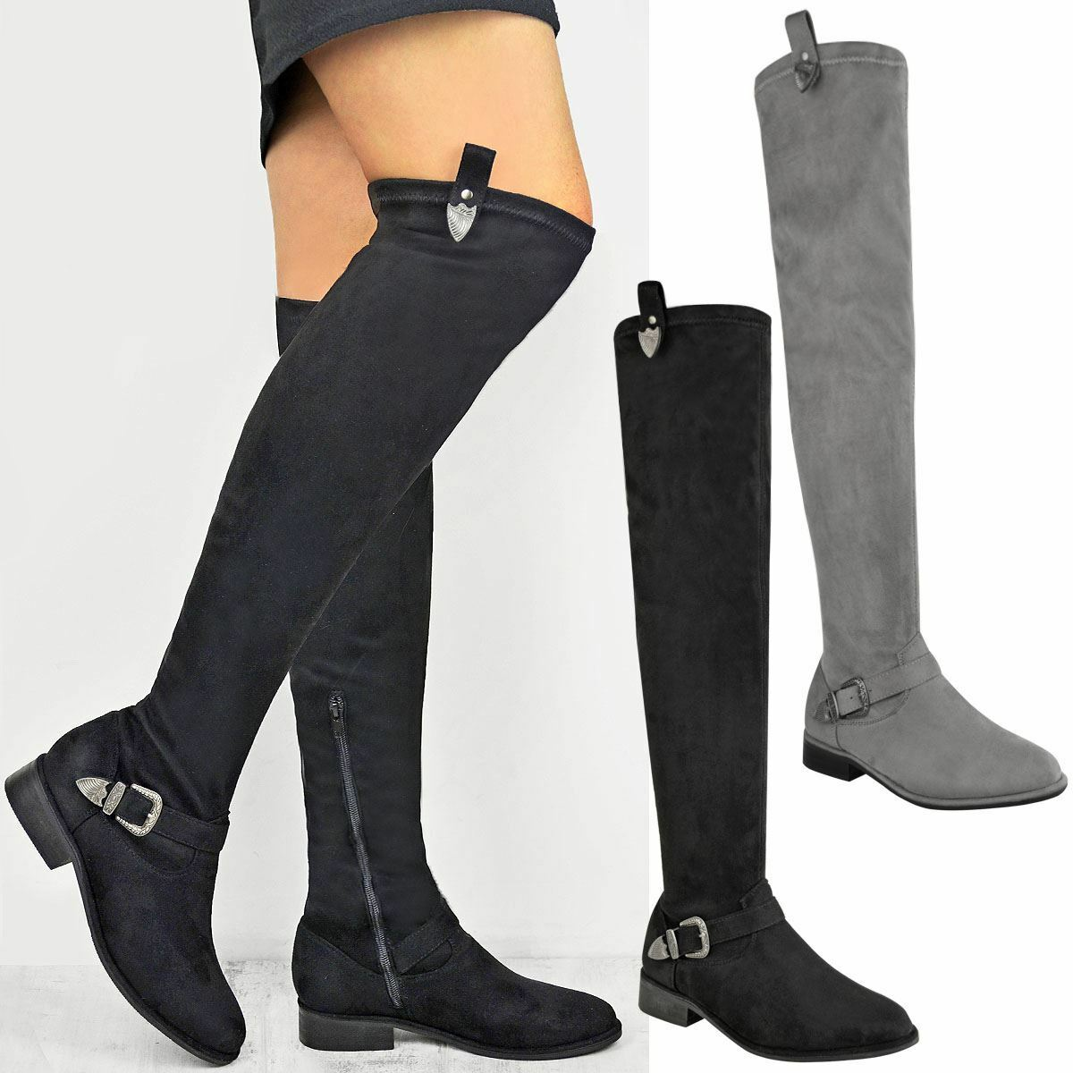 Womens Ladies Over The Knee Flat Riding Boots Thigh High Wide Leg Buckle Size